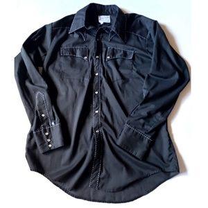 Rockmount Ranch Wear Black Pearl Snap Mens Shirt M